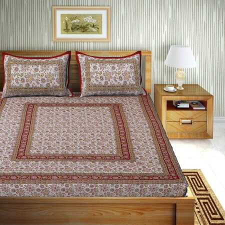 Traditional Sanganeri Print Floral Design King Size Double Bed Sheets