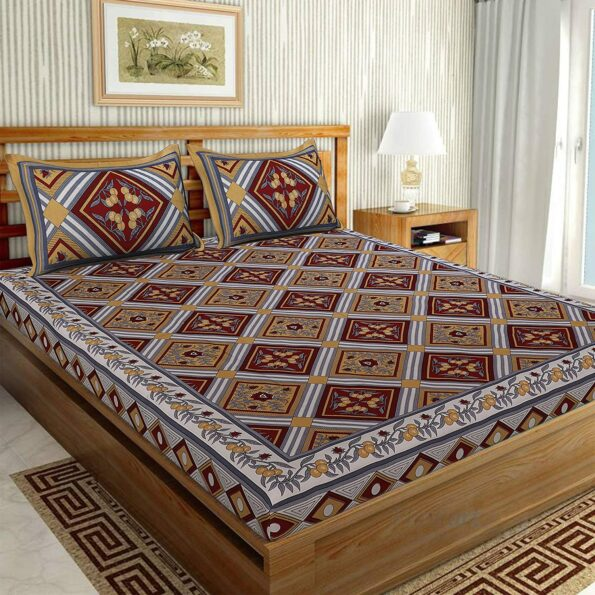 Traditional Sanganeri Print Multcolor King Size Pure Cotton Double Bedsheet