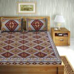 Traditional Sanganeri Print Multcolor King Size Pure Cotton Double Bedsheets