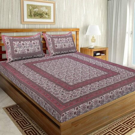 Traditional Sanganeri Print Pink Floral Design King Size Double Bed Sheet