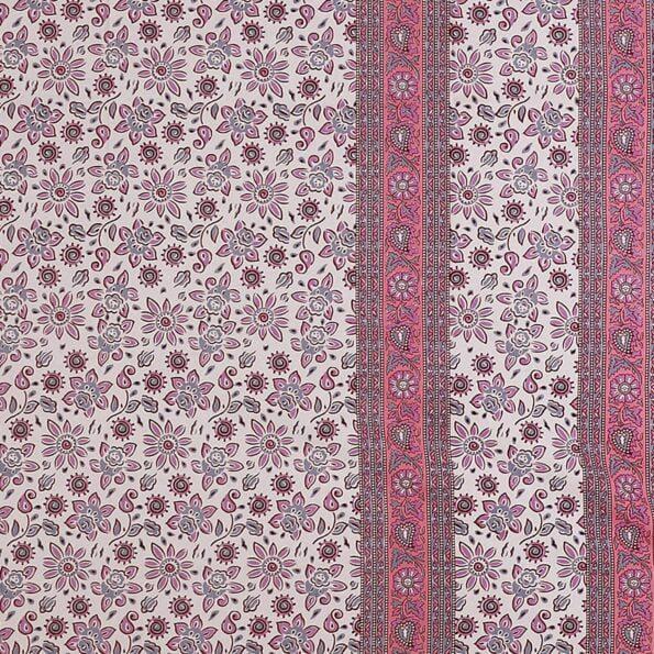 Traditional Sanganeri Print Pink Floral Design King Size Double Bed Sheet Closeup
