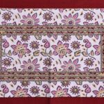 Traditional Sanganeri Print Pink Floral Design King Size Double Bed Sheet Pillow Cover