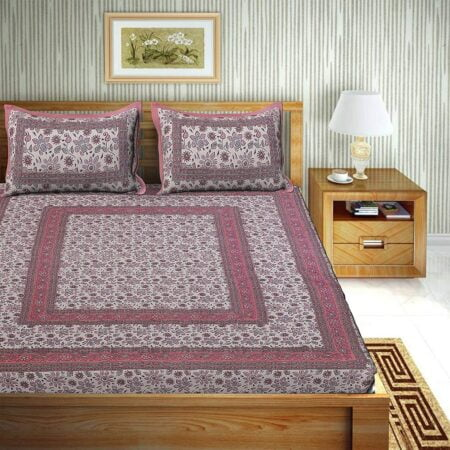 Traditional Sanganeri Print Pink Floral Design King Size Double Bed Sheets