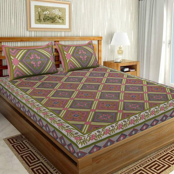 Traditional Sanganeri Print Pink color King Size Pure Cotton Double Bedsheet