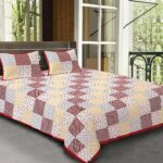 Traditional Sanganeri Print Red Border Square Shape King Size Double Bed Sheet