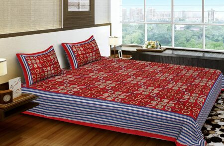 Traditional Sanganeri Print Red Color MultiShape King Size Double Bed Sheet