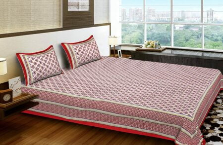 Traditional Sanganeri Print Red Floral Design King Size Double Bed Sheet