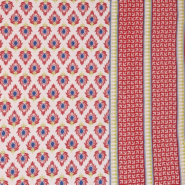 Traditional Sanganeri Print Red Floral Design King Size Double Bed Sheet Closeup