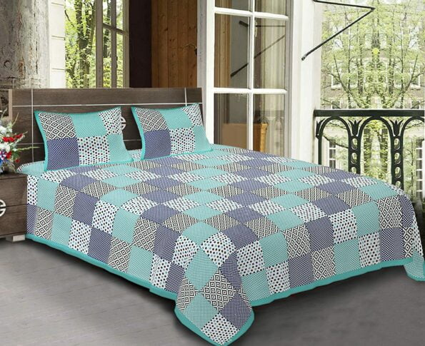 Traditional Sanganeri Print Square Shape King Size Double Bed Sheet