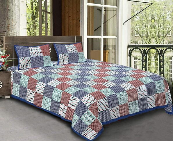 Traditional Sanganeri Print Square Shape King Size Double Bed Sheets