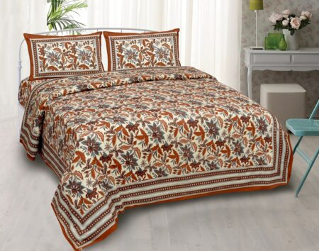 Beautifual Floral Print Ethnic Design Cotton Bedsheet