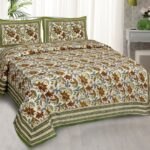 Beautifual Floral Print Green Border Ethnic Design Cotton Bedsheet