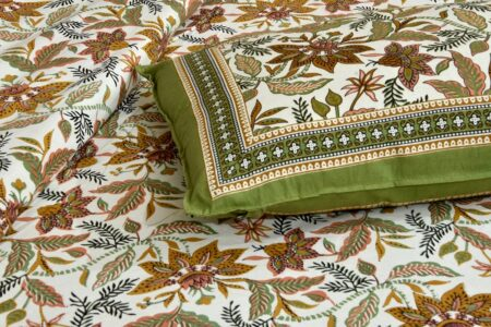 Beautifual Floral Print Green Border Ethnic Design Cotton Bedsheet Pillow