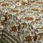 Beautifual Floral Print Green Border Ethnic Design Cotton Bedsheet view