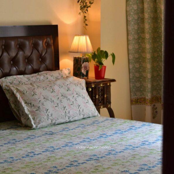 Beautiful Blue Aroma Floral Jumbo Size Bedsheet Topview