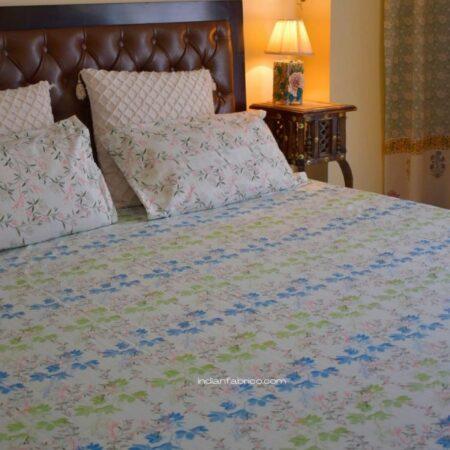 Beautiful Blue Aroma Floral Jumbo Size Bedsheets