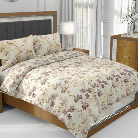 Beautiful Brown Aroma Floral Jumbo Size Bedsheet