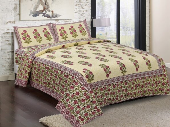 Beautiful Brown Base Floral Print King Size Bed Sheet