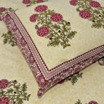 Beautiful Brown Base Floral Print King Size Bed Sheet Closeup