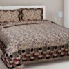 Beautiful Design Brown Base Leaf Pattern Giza Cotton Double BedSheet