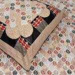 Beautiful Design Brown Base Leaf Pattern Giza Cotton Double BedSheet Close up