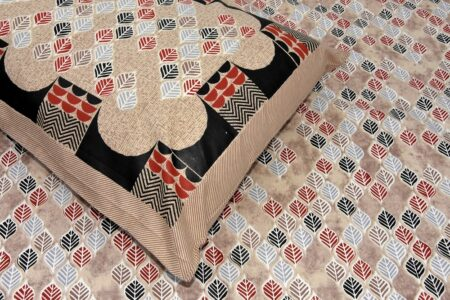 Beautiful Design Brown Base Leaf Pattern Giza Cotton Double BedSheet Close up
