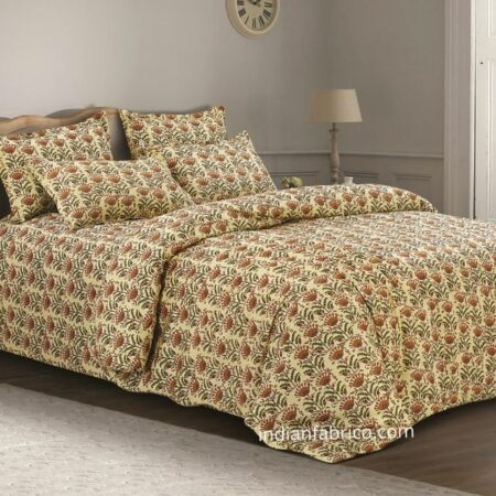 Beautiful Floral Base King Size Bedsheet with 2 Pillow Covers