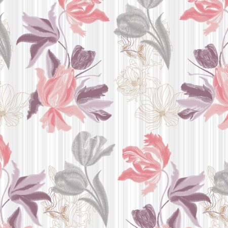 Beautiful Purple Aroma Floral King Size Bedsheet Closeup