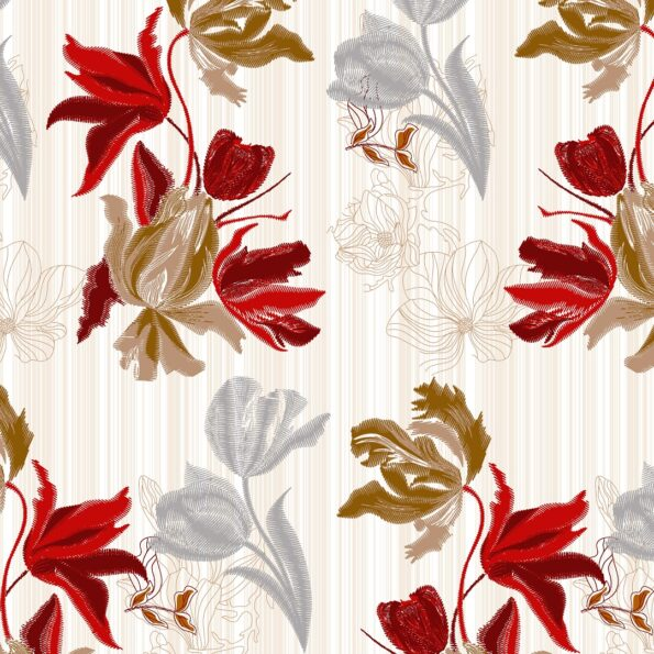 Beautiful Red Aroma Floral King Size Bedsheet Closeup