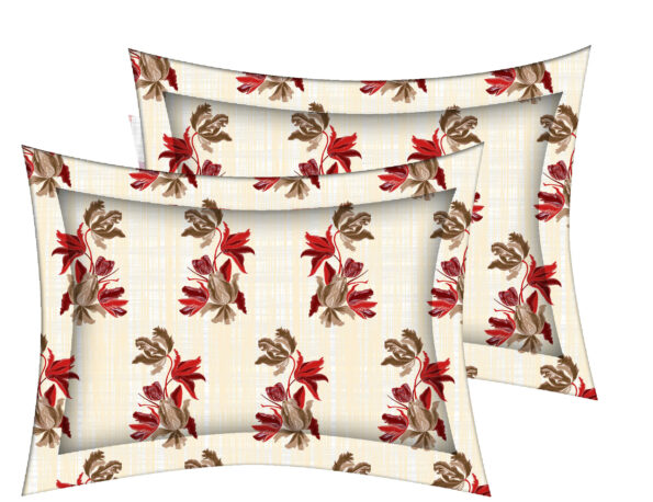 Beautiful Red Aroma Floral King Size Bedsheet Pillow