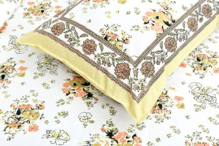 Beautiful White Base Floral King Size Bedsheet Pillow