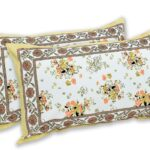 Beautiful White Base Floral King Size Bedsheet Pillow Covers