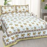 Beautiful White Base Floral King Size Bedsheet with 2 Pillow Covers