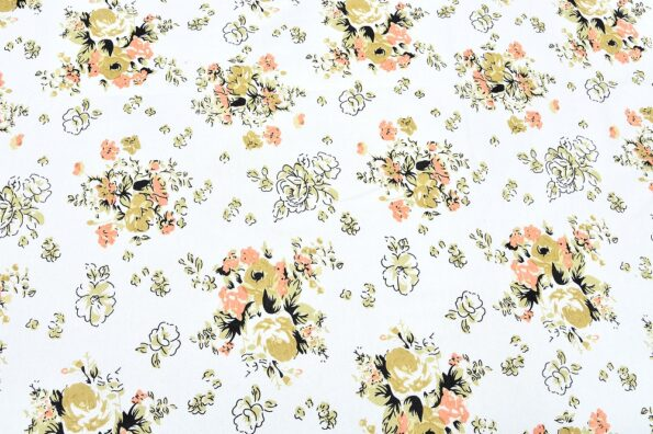 Beautiful White Base Floral King Size Bedsheet with 2 Pillow Covers Closeup