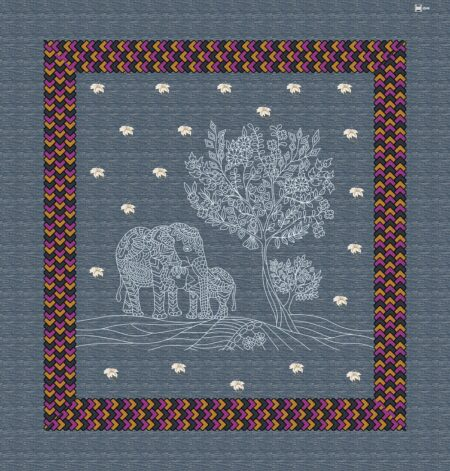 Blue Color Elephant Print Giza Cotton Double BedSheet Full View