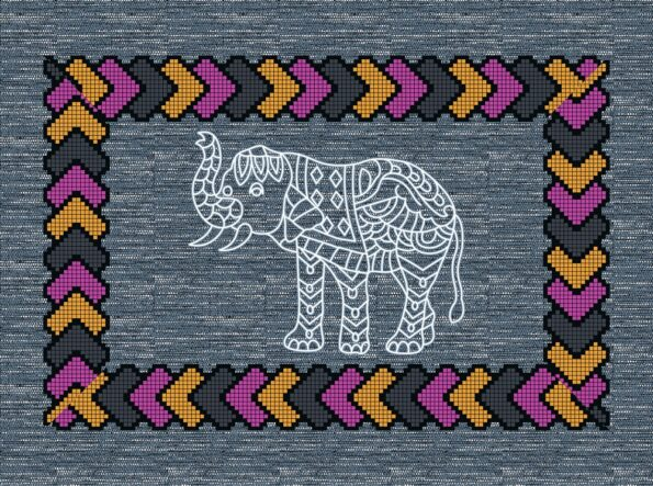 Blue Color Elephant Print Giza Cotton Double BedSheet Pillow Design
