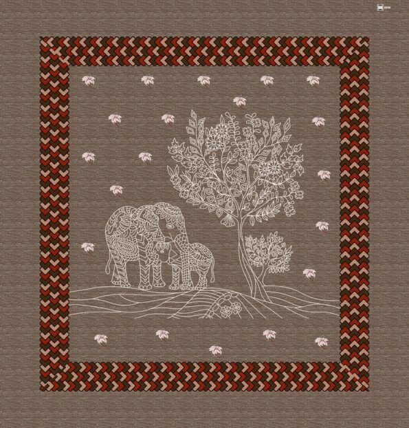 Brown Color Elephant Print Giza Cotton Double BedSheet Full View