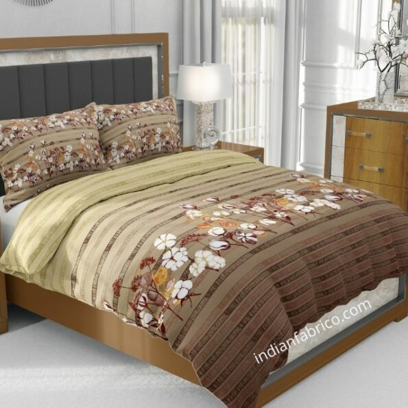 Brown Floral Charm Jumbo Size Bedsheet
