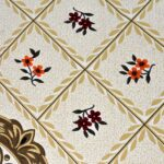 Brown Floral Print Double Bedsheet Closeup