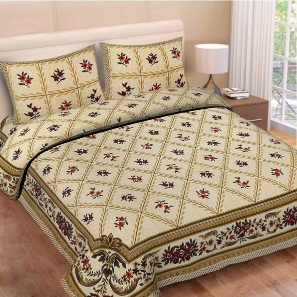 Brown Floral Print Double Bedsheet with Pillow Covers
