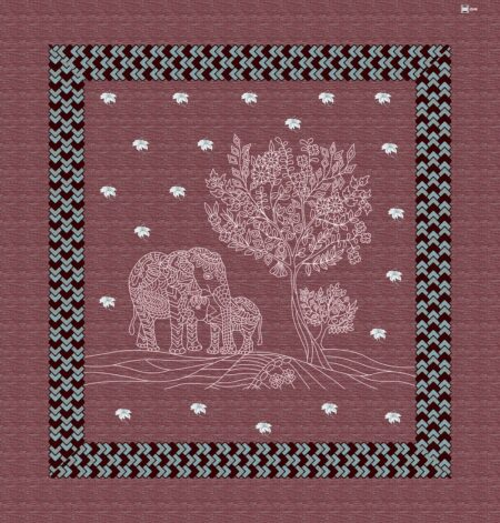 Cherry Color Elephant Print Giza Cotton Double BedSheet Full View