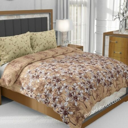 Dark Brown Manjari Tulsi Floral Jumbo Size Bedsheet