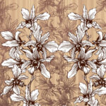 Dark Brown Manjari Tulsi Floral King Size Bedsheet Closeup