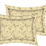 Dark Brown Manjari Tulsi Floral King Size Bedsheet Pillow