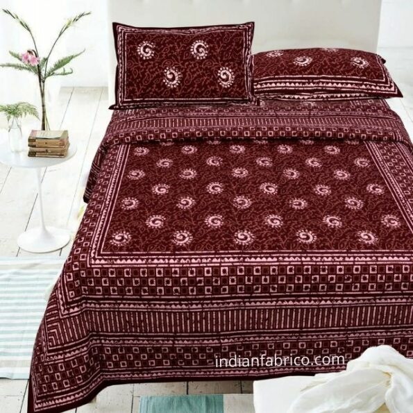 Dark Cherry Color Square Border Double Bedsheet