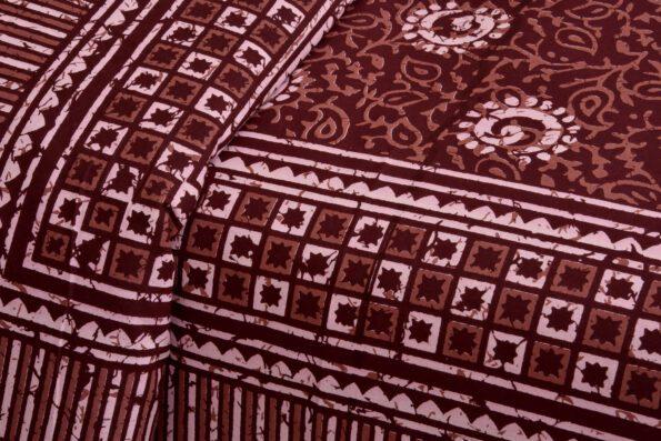 Dark Cherry Color Square Border King Size Bedsheet Closeup