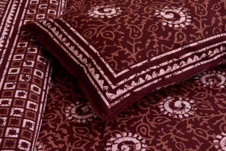 Dark Cherry Color Square Border King Size Bedsheet Pillow