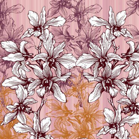 Dark Pink Manjari Tulsi Floral King Size Bedsheet Closeup