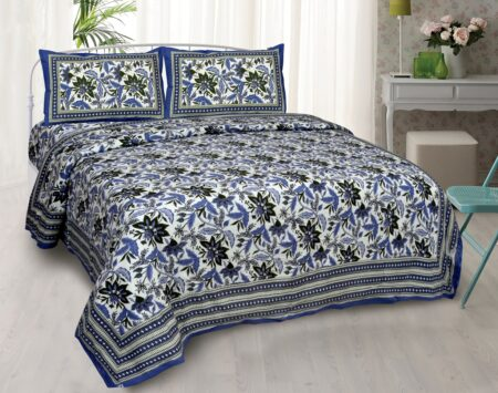 Ethnic Jaipuri Blue Flowery Print Double Bed Sheet