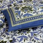 Ethnic Jaipuri Blue Flowery Print Double Bed Sheet Pillow